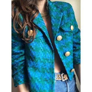 Vintage cropped silk blazer.